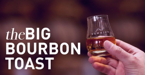 a hand holding a glass of new riff bourbon with the words The Big Bourbon Toast in white lettering next to it