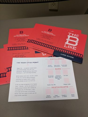 A stack of red and blue Line Guides for The B-Line with one opened to show the list of bars, restaurants and distilleries on this bourbon tour of Northern Kentucky