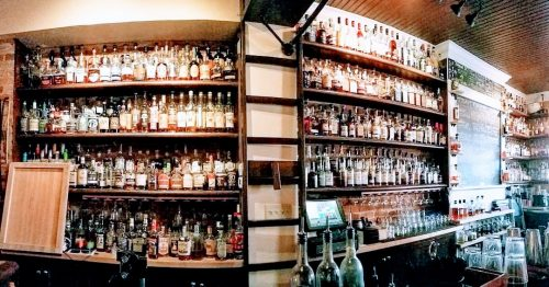 the famous bourbon collection at the Old Kentucky Bourbon Bar in Covington, Kentucky