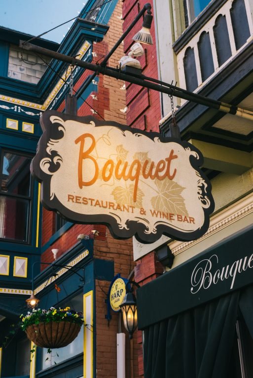 Exterior sign for Bouquet Restaurant, an upscale restauarant on the B-Line, located in Mainstrasse Village in Covington, Ky.
