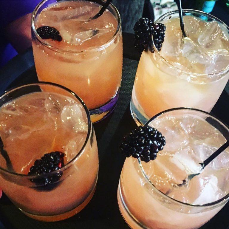 bourbon blackberry cocktails featured at purple poulet