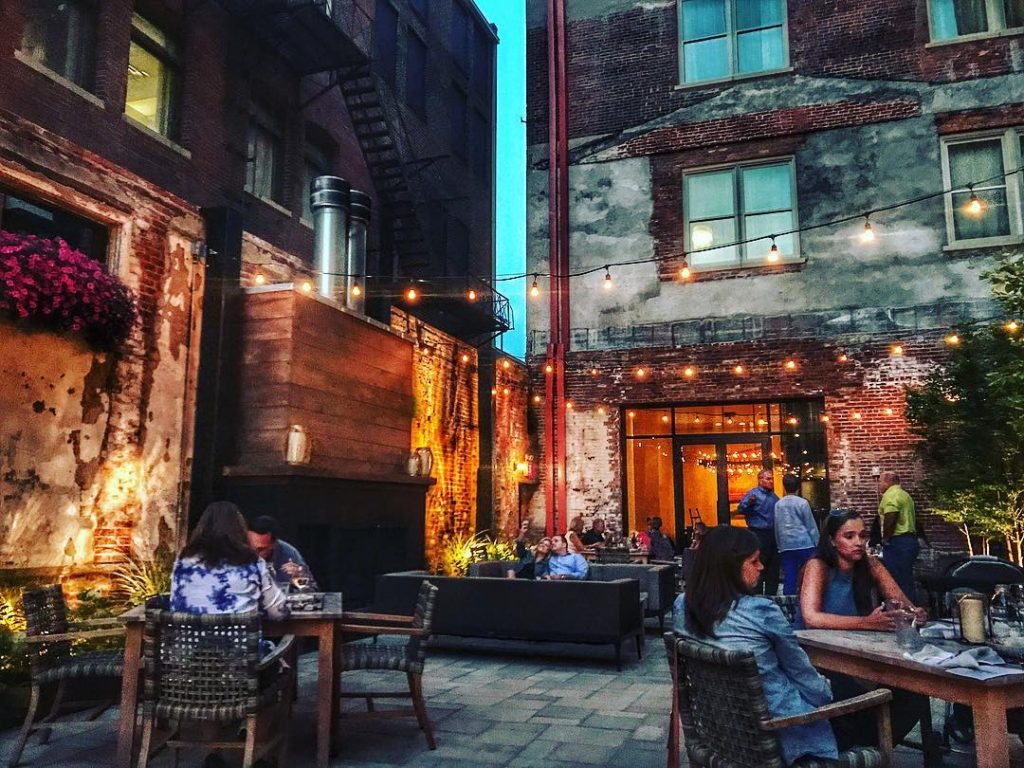 patio area of coppin's restaurant at hotel covington