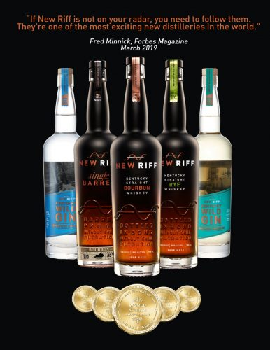 New Riff Distilling's five spirits that won Double Gold Medals, displayed with the medals