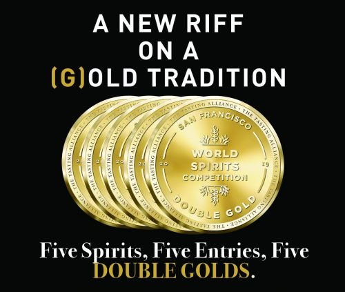 The five double gold medals won by New Riff Distilling at the 2019 World Spirits Competition, with the words A New Riff on a (G)old Tradition. Five Spirits. Five Entries. Five DOUBLE GOLDS.