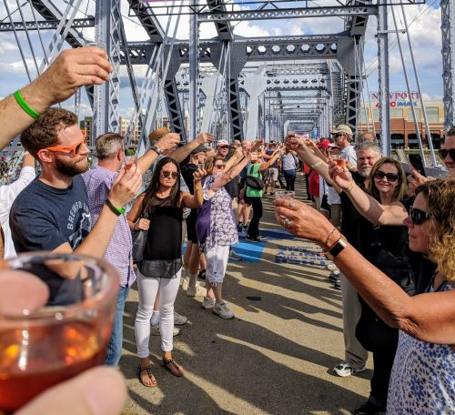 Hundreds of people on the Purple People Bridge for New Riff's Big Bourbon Toast