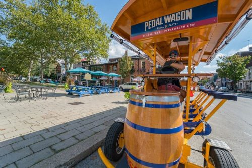 Blue skies over Mainstrasse Village in Covington with the Pedal Wagon Bourbon Tour