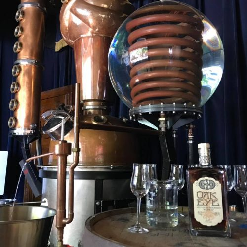 The hand-made still shaped like a crystal ball and a swami at The B-Line Distillery Second Sight Spirits in Northern Kentucky