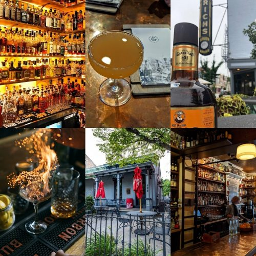 All 6 B-Line Bourbon Trail bars named to the Best Bourbon Bars 2020 photos of each on a grid: Prohibition bourbon bar, The Globe, Rich's Proper, Wiseguy Lounge, Bourbon Haus 1841, and the Old Kentucky Bourbon Bar