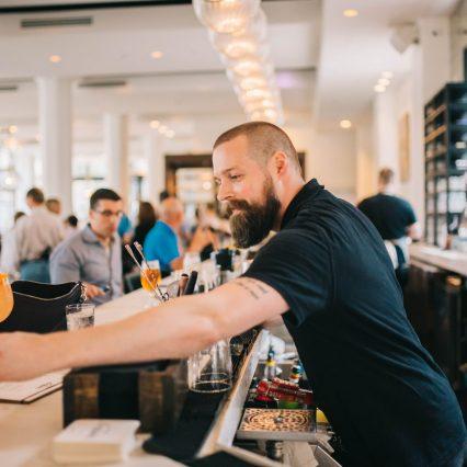 bar tender making drinks at hotel covington coppin's restaurant in covington ky