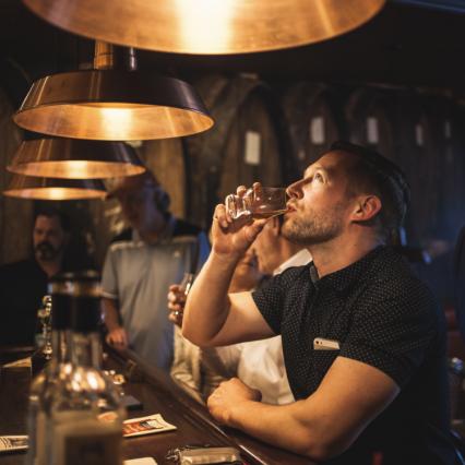 Tasting Bourbon at Prohibition Bourbon Bar in Newport, Ky.