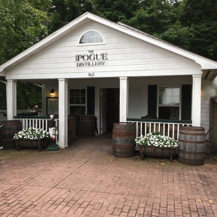 Exterior of white buildling at Old Pogue Distillery in Maysville Ky