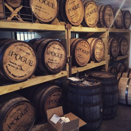 Bourbon Barrels sitting in rick house at Old Pogue Distillery in Maysville Ky