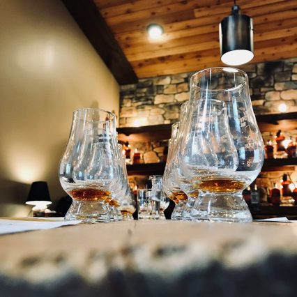 Close up shot of bourbon tasting glasses at Boone County Distilling in Northern Kentucky